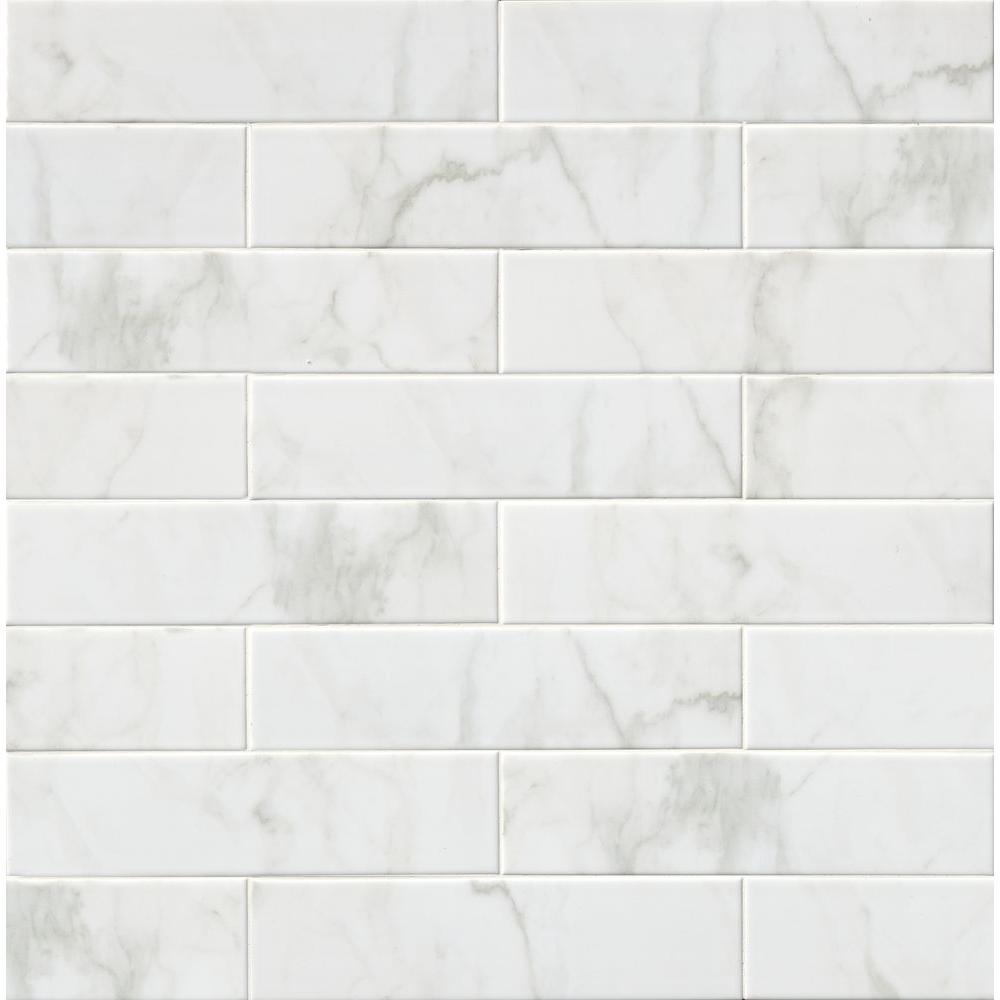 Marmi Blanco White 4 in. x 16 in. Glazed Ceramic Wall Tile (11 sq. ft. / case)