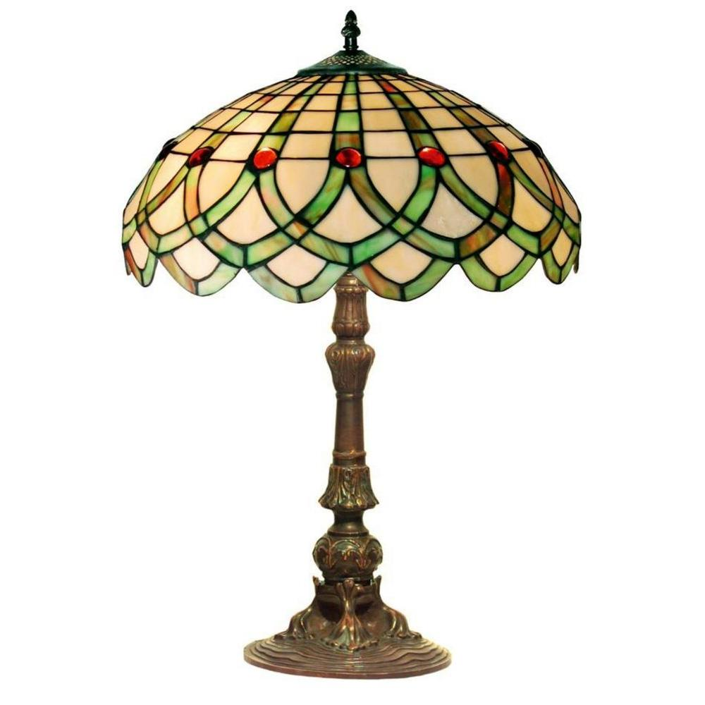Warehouse of Tiffany Ribbon 24 in. Bronze Stained Glass Table Lamp