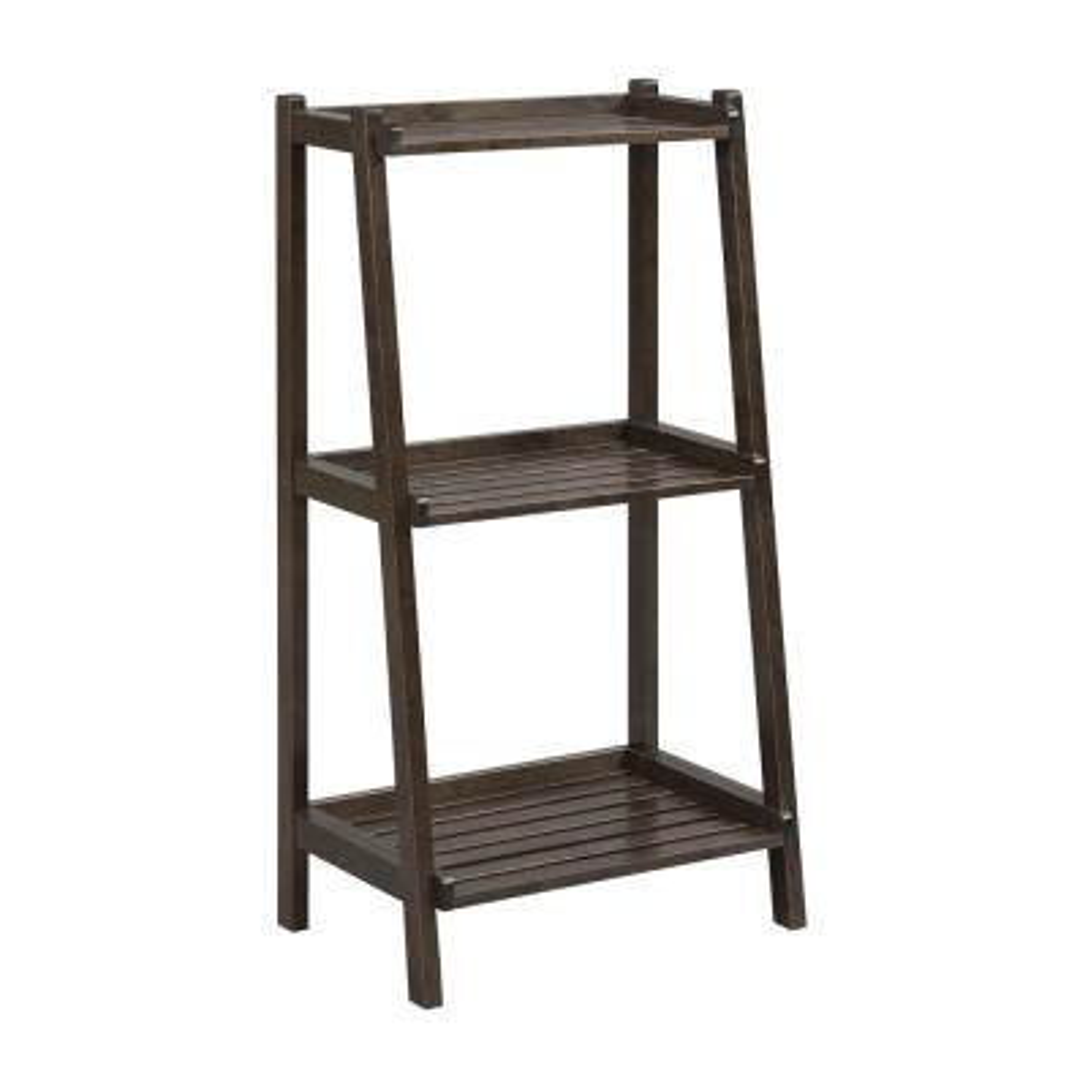42.25 in. Espresso Wood 3-shelf Ladder Bookcase