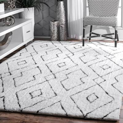 Beaulah Modern Geometric Shag White 8 ft. x 10 ft. Area Rug