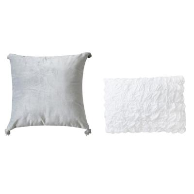 Rhapsody Silver Solid Polyester 18 in. x 18 in. Throw Pillow (Set of 2)