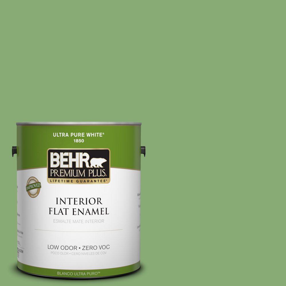 BEHR Premium Plus 1-gal. #440D-5 Pesto Zero VOC Flat Enamel Interior Paint-DISCONTINUED