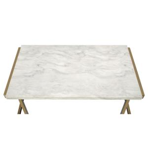 Acme Furniture Boice II Coffee Table in Faux Marble and Champagne by Acme Furniture
