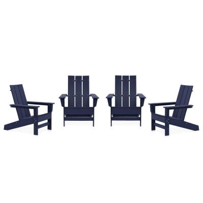Aria Navy Recycled Plastic Modern Adirondack Chair (4-Pack)