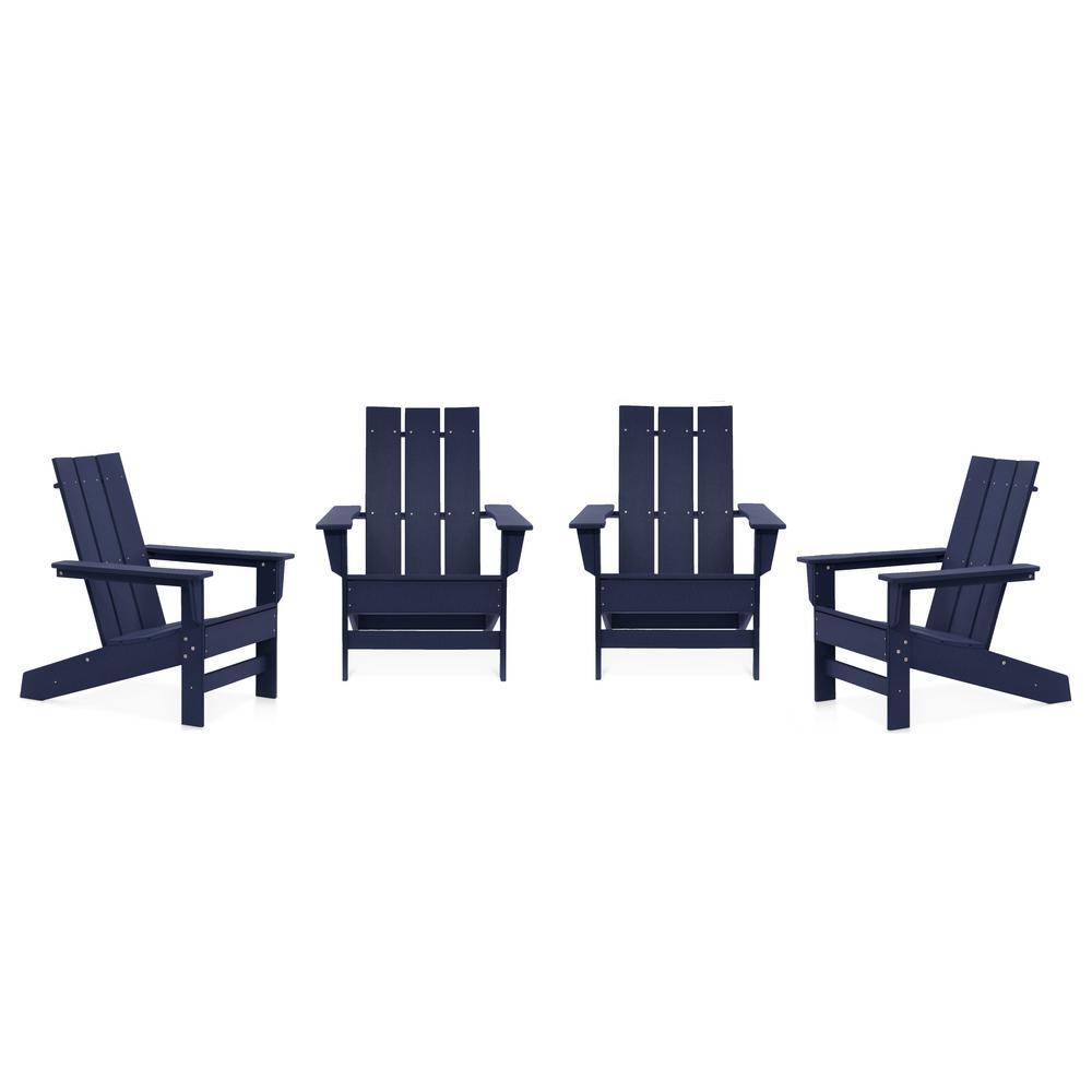 Aria Navy Recycled Plastic Modern Adirondack Chair (4-Pack)