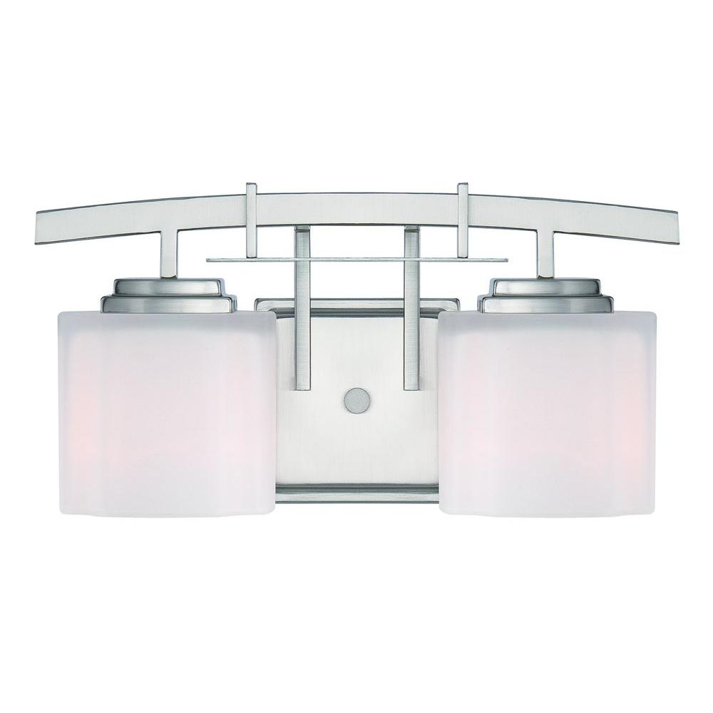 Hampton Bay Architecture 2-Light Brushed Nickel Vanity Light with Etched  White Glass Shades