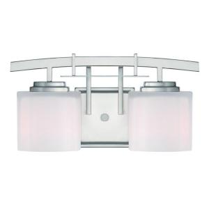 hampton bay architecture 2 light brushed nickel vanity light with etched white glass shades. Black Bedroom Furniture Sets. Home Design Ideas