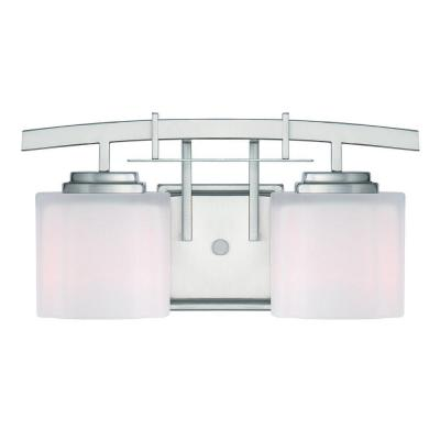 Architecture 2-Light Brushed Nickel Vanity Light with Etched White Glass Shades