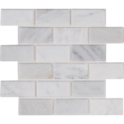 Arabescato Carrara 12 in. x 12 in. x 20mm Honed Marble Mesh-Mounted Mosaic Tile (10 sq. ft. / case)