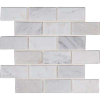 Arabeo Carrara 12 In X 20mm Honed Marble Mesh Mounted