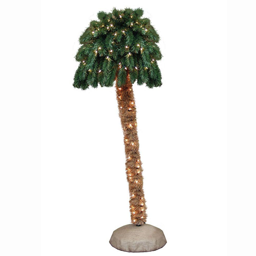 General Foam 5 ft. Pre-Lit Palm Artificial Christmas Tree with ...