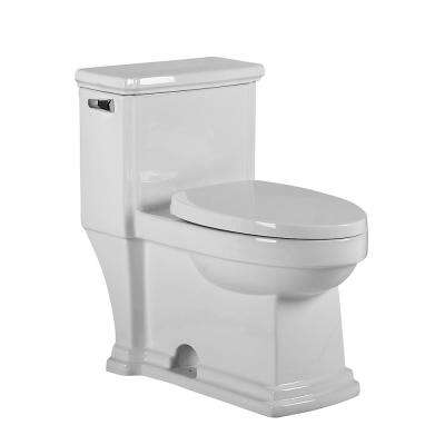 Magic Flush 1-Piece 1.28 GPF Single Flush Elongated Bowl Toilet in White