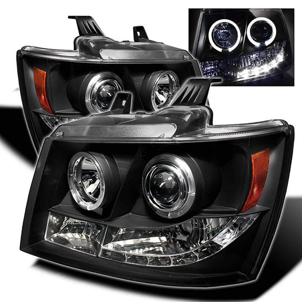 Chevy Suburban 1500 2500 07 14 Tahoe Avalanche Projector Headlights Led Halo Black
