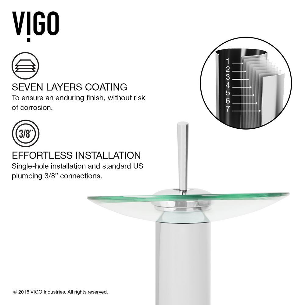 Chrome Finish Vigo Industries VG03002CH Glass Single Lever Waterfall Faucet