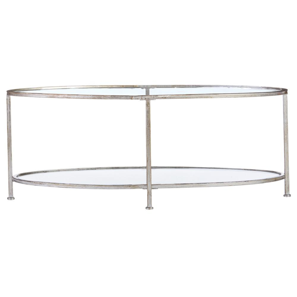 Home Decorators Collection Bella Aged Silver Oval Glass Coffee Table