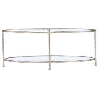 Bella Aged Silver Oval Glass Coffee Table