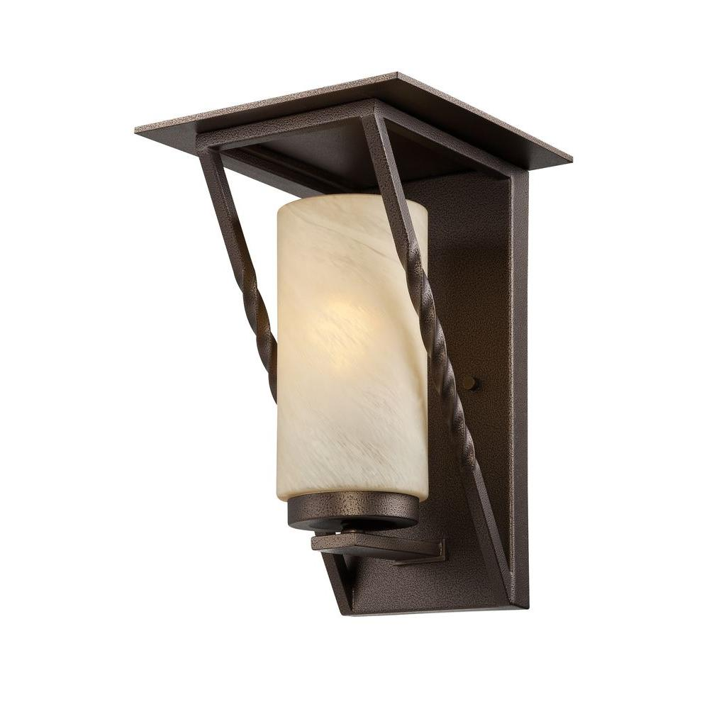 Parkview 1-Light Flemish Bronze Outdoor Wall Lantern with Tea Stained French