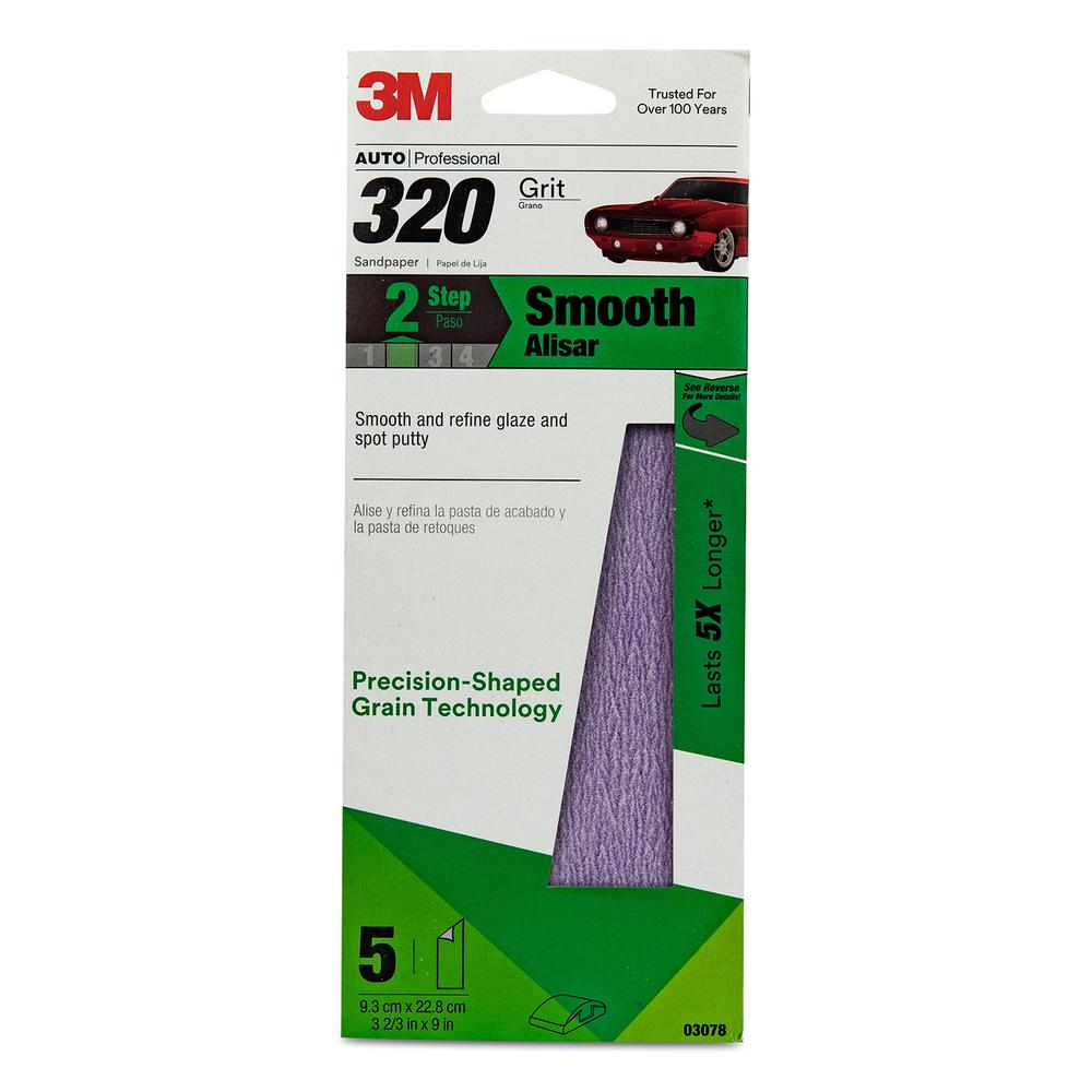 Performance 3 2/3 in. x 9 in. 320 Grit Sandpaper (5-Pack)