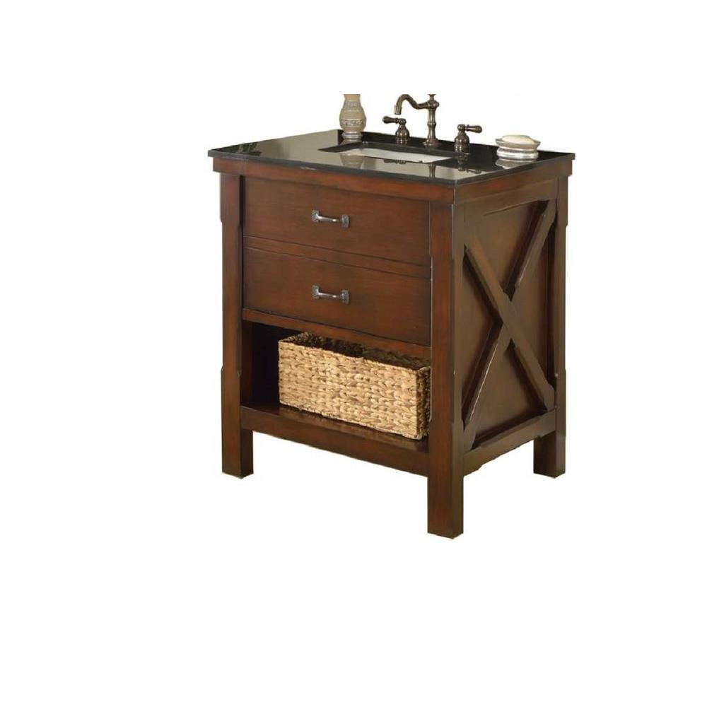Direct vanity sink Xtraordinary Spa 32 in. Vanity in Dark Brown with Granite Vanity Top in Black with White Basin