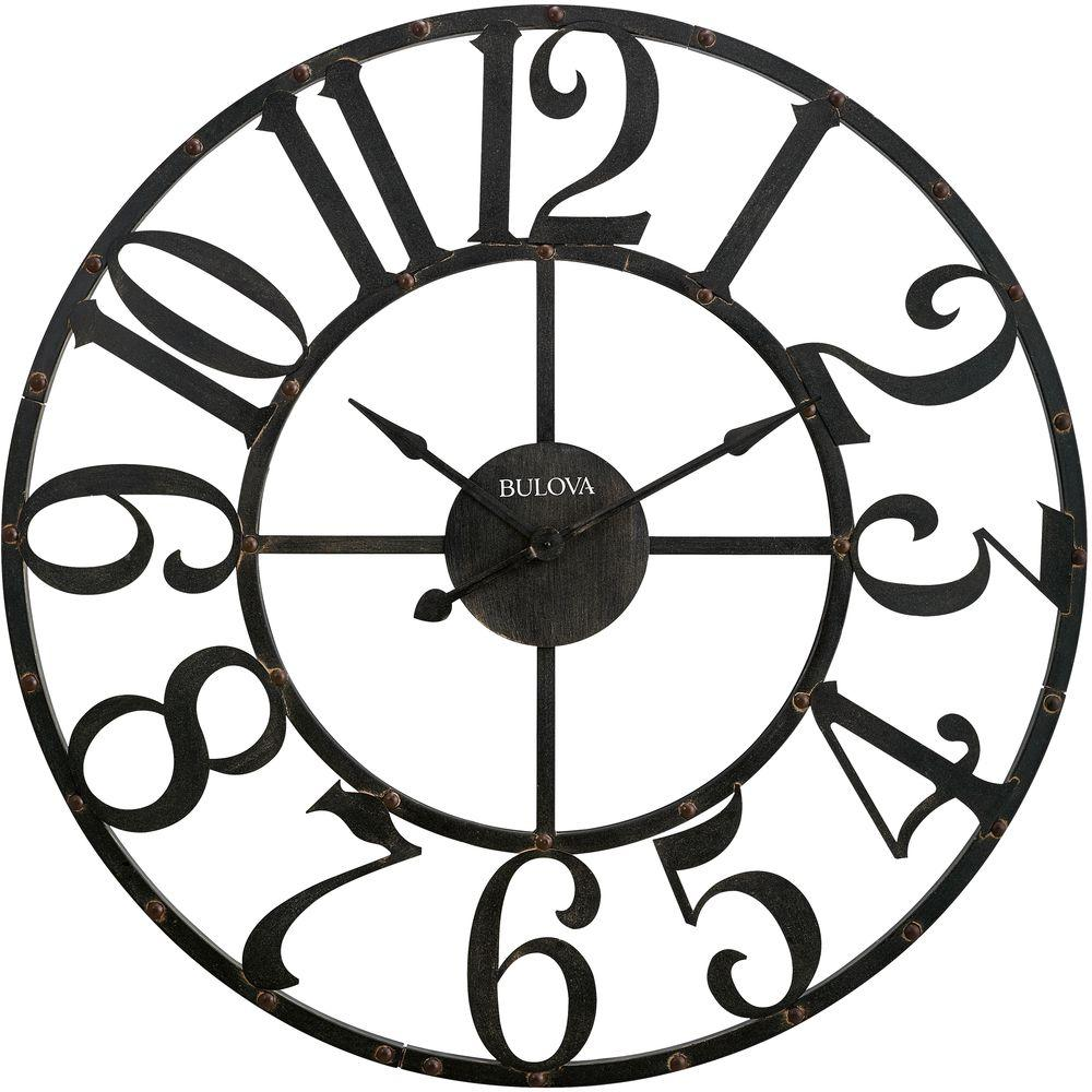 Bulova 45 In H X 45 In W Round Wall Clock C4821 The Home Depot