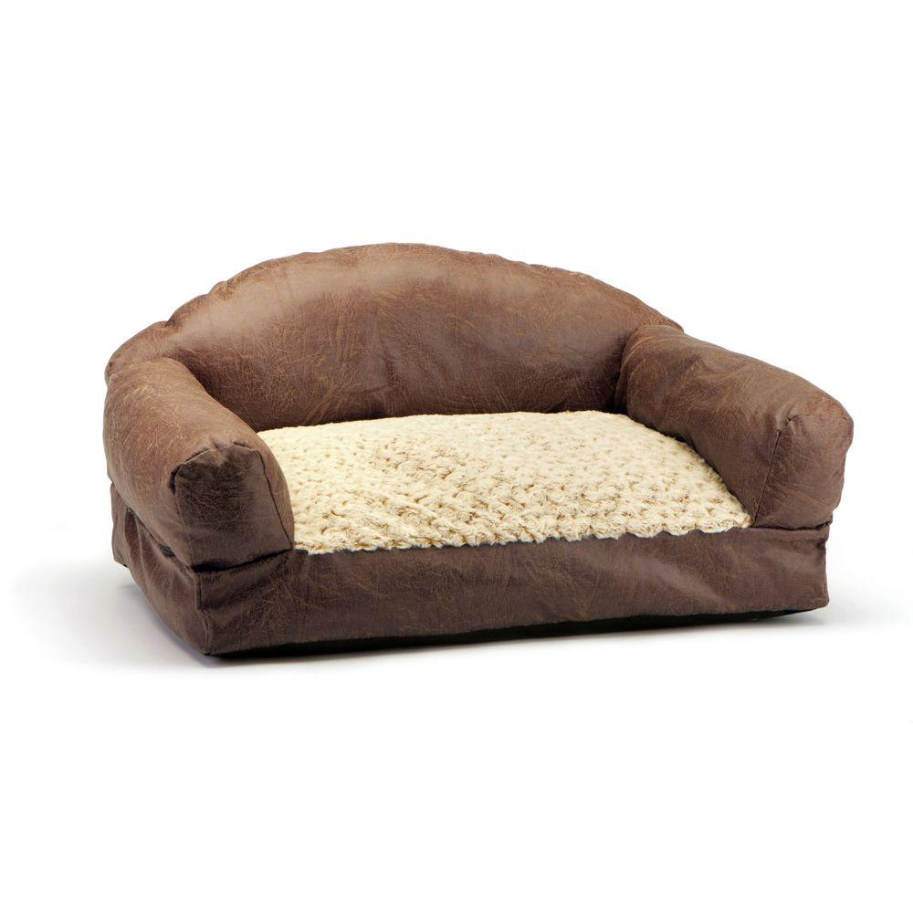 Brown Faux Fur And Leather Sofa Pet Bed