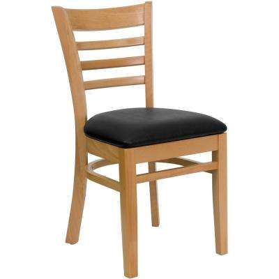 Hercules Series Natural Wood Ladder Back Wooden Restaurant Chair with Black Vinyl Seat