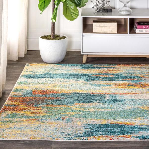 Jonathan Y Contemporary Pop Modern Abstract Vintage Waterfall Light Blue Multi 8 Ft X 10 Ft Area Rug Ctp106b 8 The Home Depot