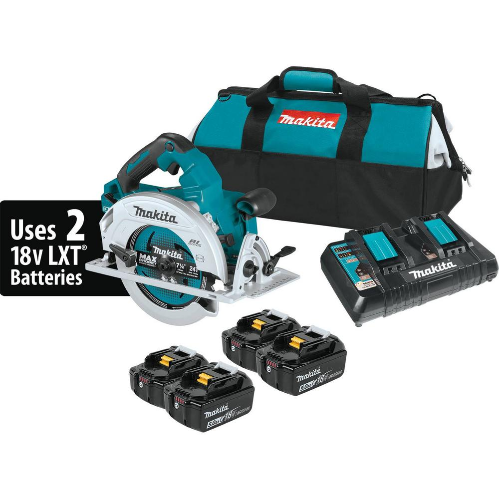 Makita 18-Volt X2 LXT Lithium-Ion (36-Volt) Brushless Cordless 7-1/4 in. Circular Saw Kit with 4 Batteries (5.0Ah)