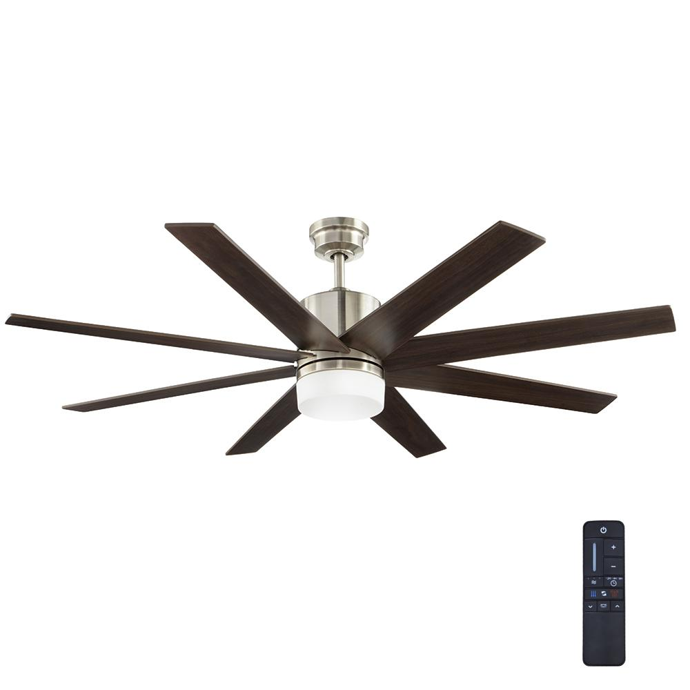 Home Decorators Collection 60 In Indoor Zolman Pike Integrated Led Dc Brushed Nickel Ceiling Fan