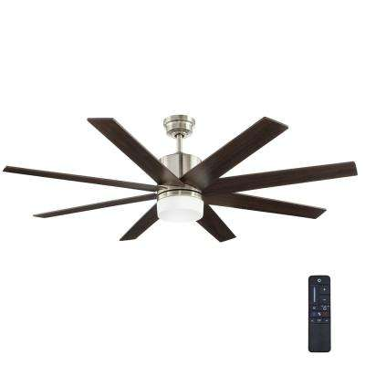 Modern 8 blades residential ceiling fans with lights ceiling indoor zolman pike integrated led dc brushed nickel ceiling fan with light kit aloadofball Image collections