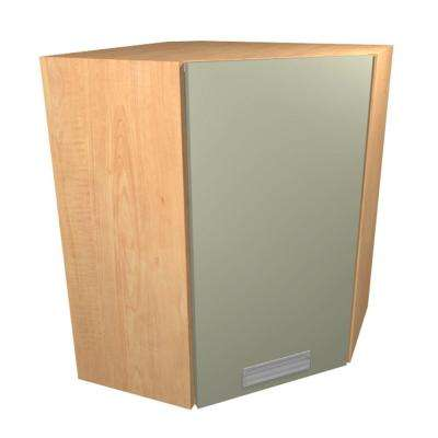 Genoa Ready to Assemble 24 x 30 x 12 in. Angle Corner Wall Cabinet with 1 Soft Close Door in Almond