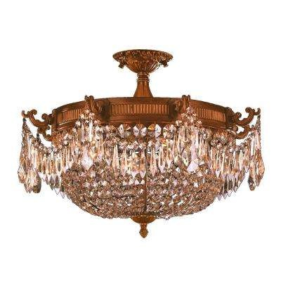 Winchester Collection 4-Light French Gold and Golden Teak Crystal Semi Flush Mount