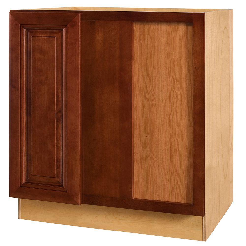 Home Decorators Collection Lyndhurst Assembled 30x34.5x24 in. Single Door Hinge Right Base Kitchen Blind Corner Cabinet in Cabernet