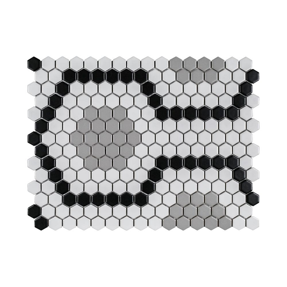 Jeffrey Court Hex Circuit 15.5 in. x 11.75 in. x 6 mm Porcelain Mosaic