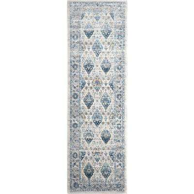 Christian Siriano Surface Berkshire Cream/Blue 2 ft. 2 in. x 7 ft. 2 in. Indoor Runner Rug