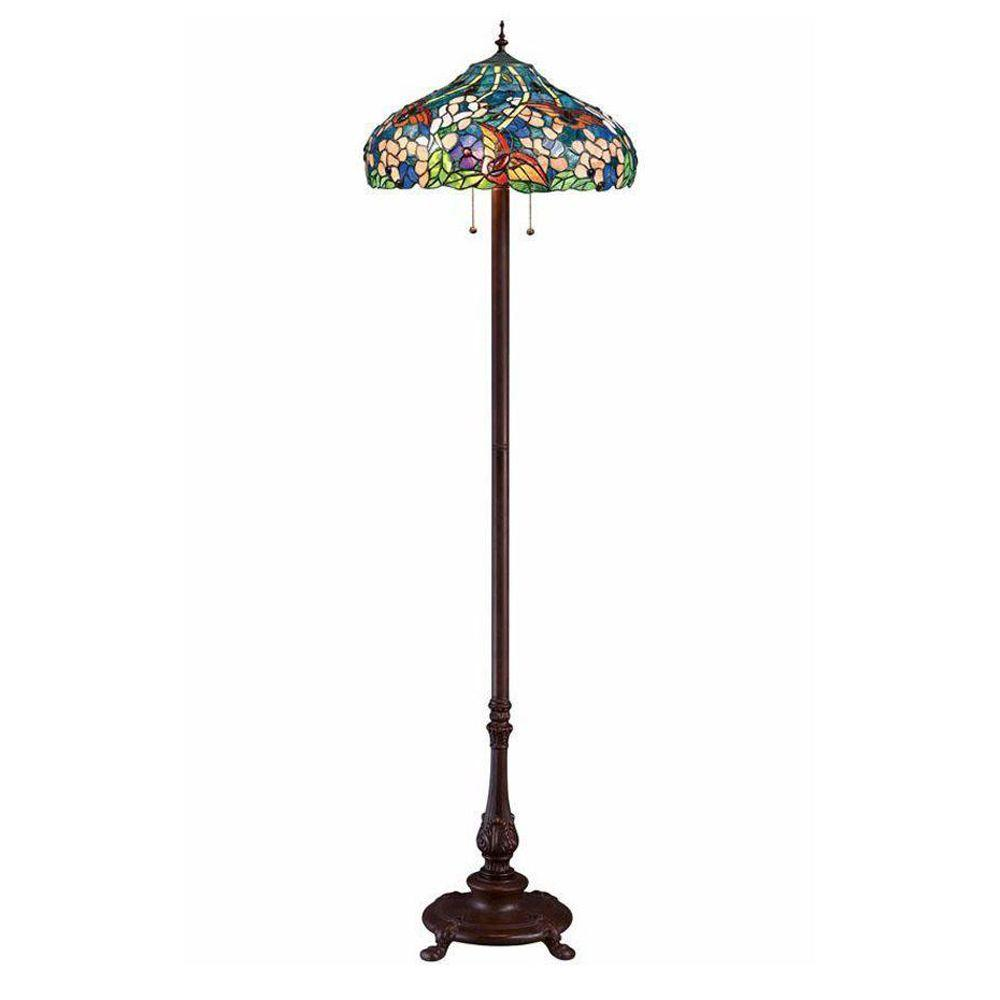 Home Decorators Collection Oyster Bay 60 in. Multi Butterflies Floor Lamp