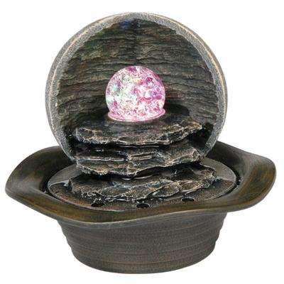 8 in. Grey Table Fountain with LED Light