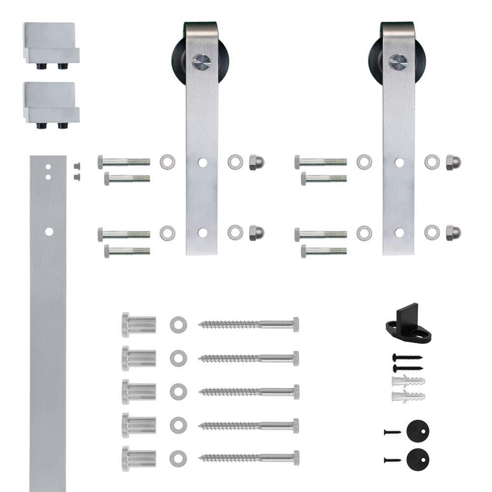 Soft Closed Hook Strap Satin Nickel Rolling Barn Door Hardware Kit With 2 3/