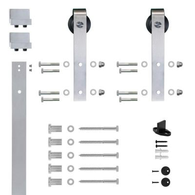 Soft Closed Hook Strap Satin Nickel Rolling Barn Door Hardware Kit with 2-3/4 in. Wheel