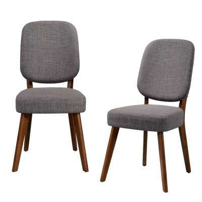 Georgetown Walnut Armless Dining Chair with Paddle Design Back and Seat in Gray Linen (Set of 2)