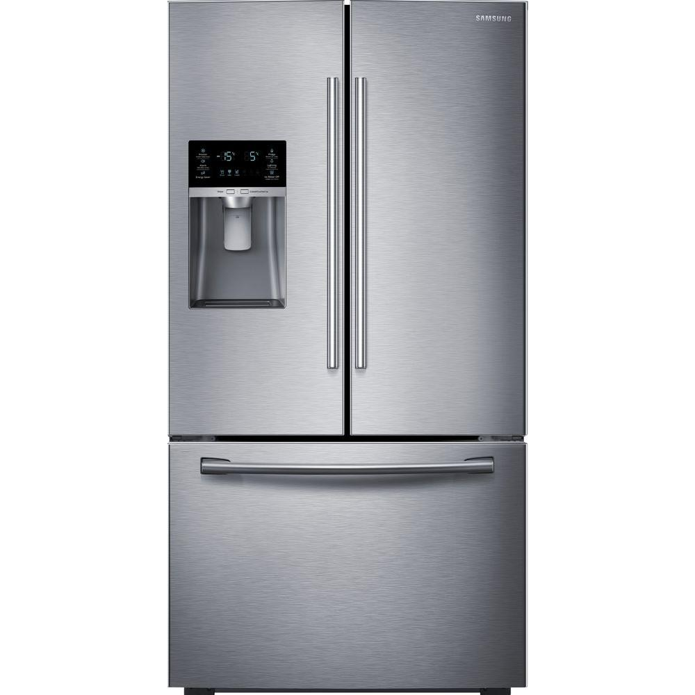 samsung cu ft french door refrigerator in stainless steel rf28hfedbsr the home depot. Black Bedroom Furniture Sets. Home Design Ideas