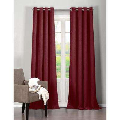Solid Raspberry Polyester Blackout Grommet Window Curtain 54 in. W x 84 in. L (2-Pack)
