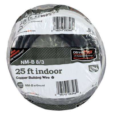 25 ft. 8/3 Black NM-B Wire