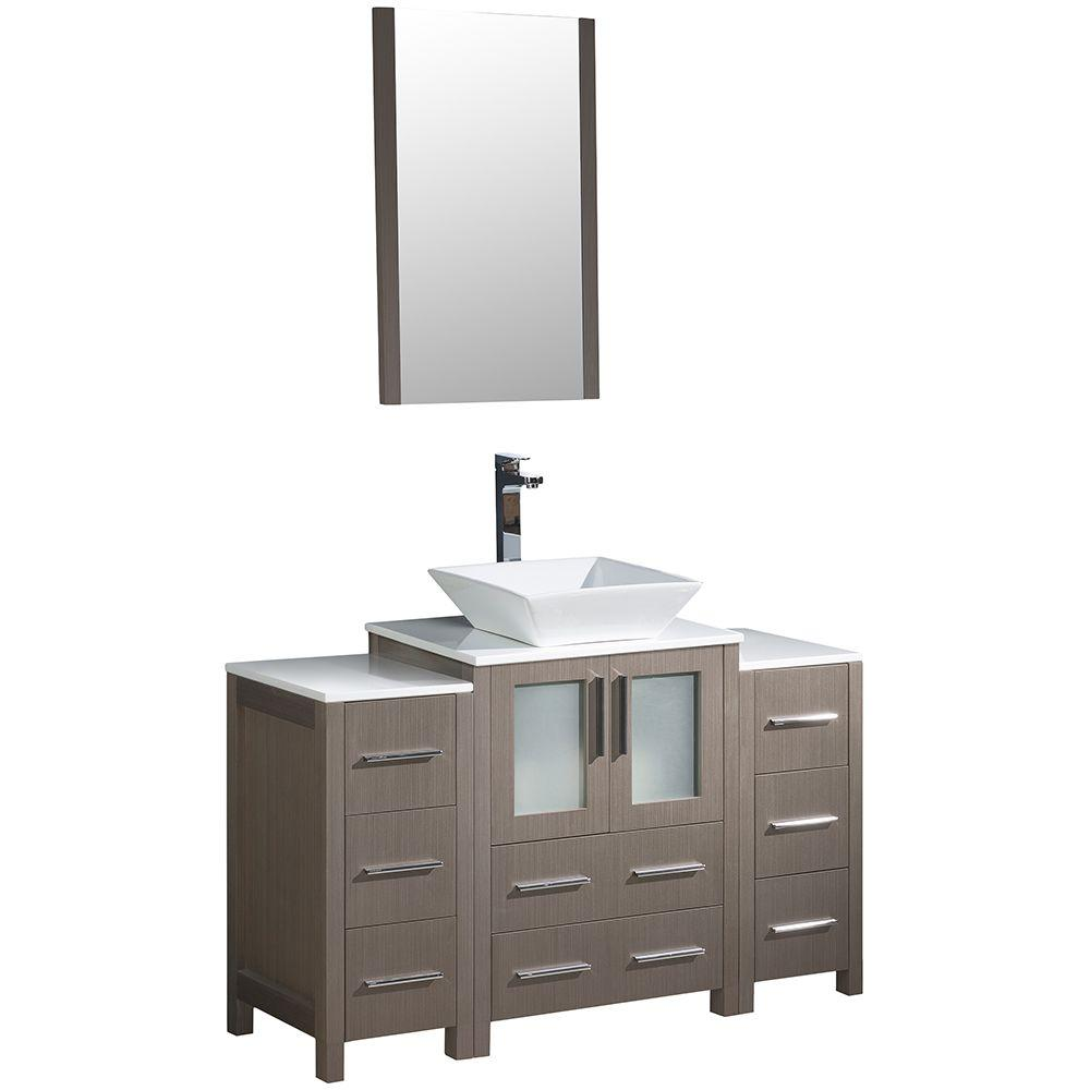 Torino 48 in. Vanity in Gray Oak with Glass Stone Vanity