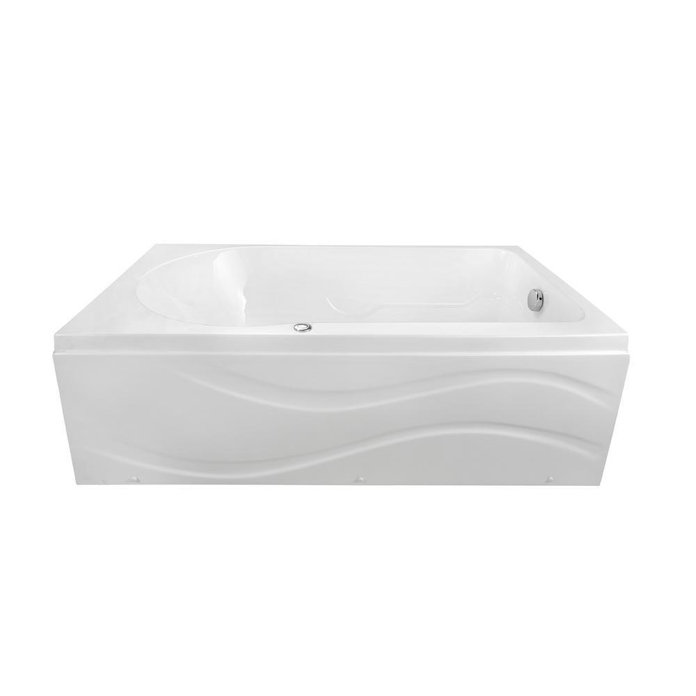 Solo 60 in. x 30 in. Acrylic Right Drain Rectangular Alcove Infusion Microbubble Air Bath Bathtub in White