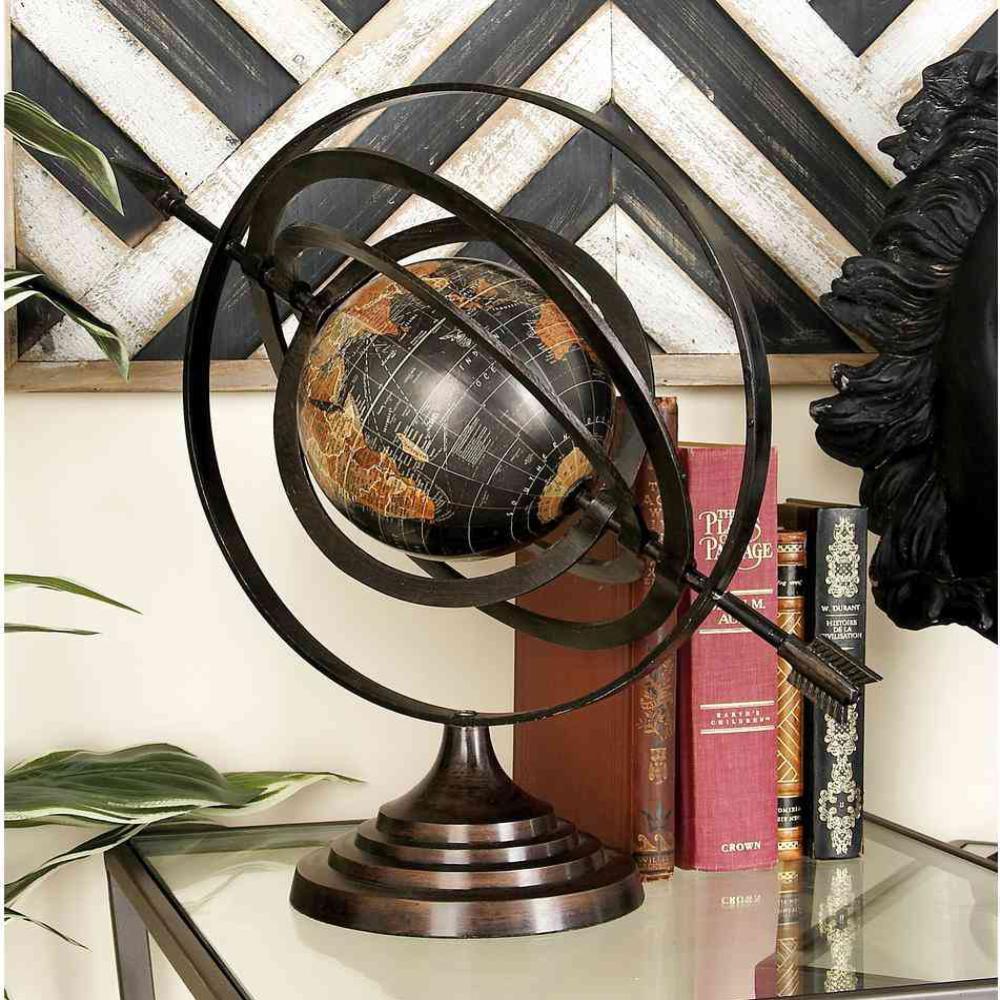 Litton Lane Modern Black Globe And Armillary Sphere With Spear Finials