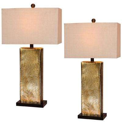 29.5 in. Hammertone Brown Mercury Glass and Antique Brass Metal Pillar Table Lamps