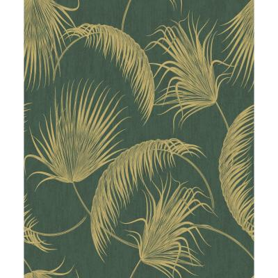 Oasis Green and Gold Foil Leaves Wallpaper