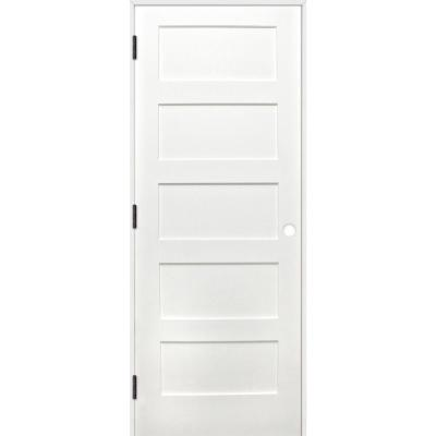 18 in. x 80 in. Shaker Prime Reversible 5-Panel Solid Pine Single Prehung Interior Door