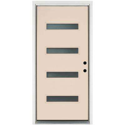 37.38 in. x 81.56 in. Transclear 4-Lite Smooth Latte Left-Hand Inswing Painted Fiberglass Prehung Front Door